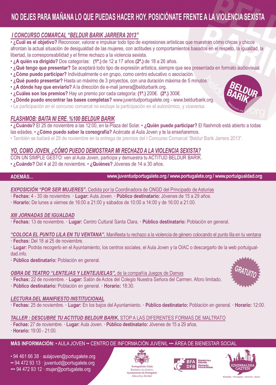 Actividades en torno al 25 de Noviembre Día Internacional contra la Violencia de Género